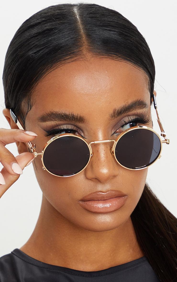Gold Frame Round Sunglasses 1
