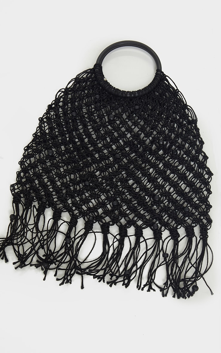 Black Woven Tassel Handbag 2