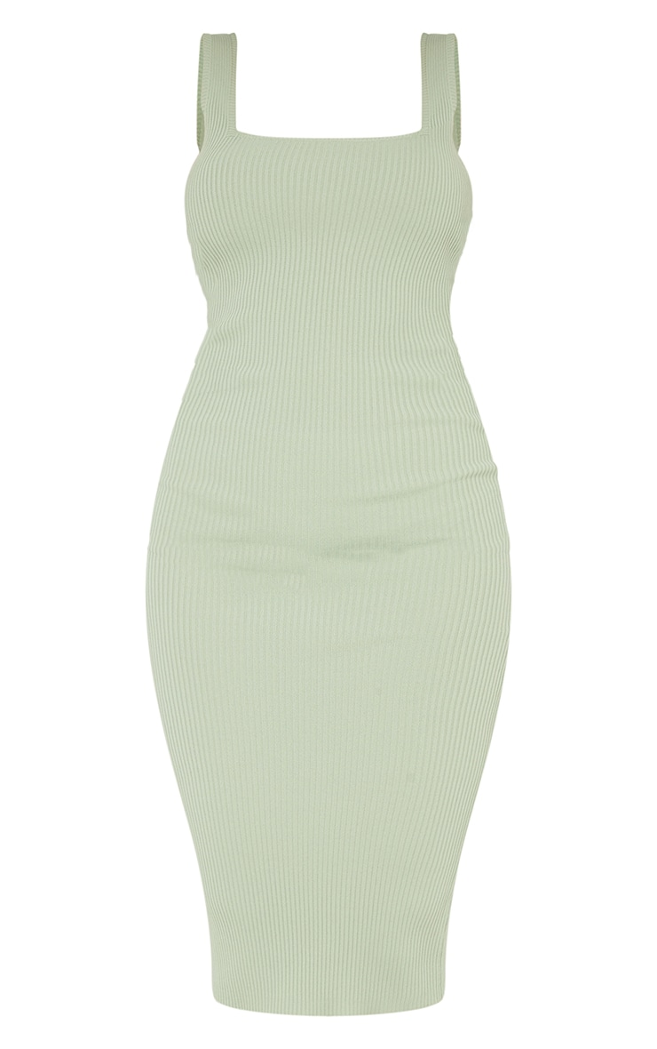 Sage Green Square Neck Low Back Knitted Midi Dress 5