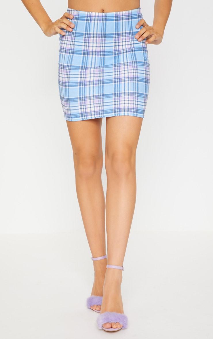 Blue Check Print Crepe Mini Skirt 2
