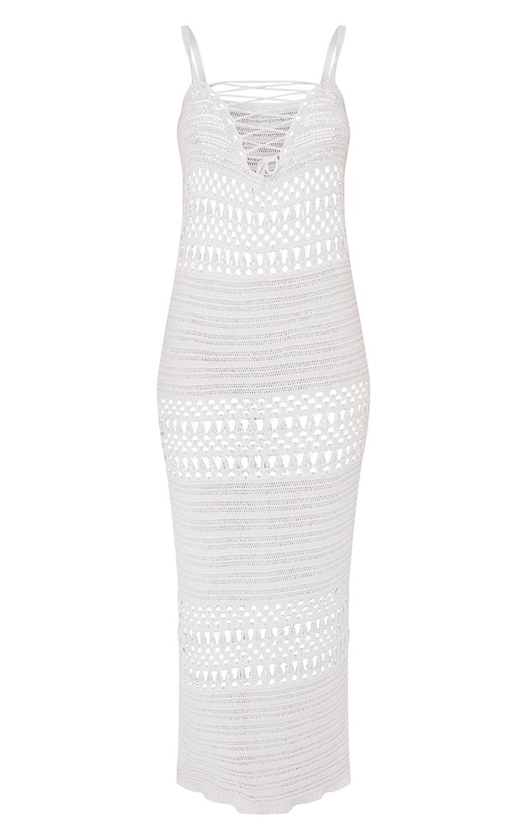 Cream Crochet Lace Up Midaxi Dress 5