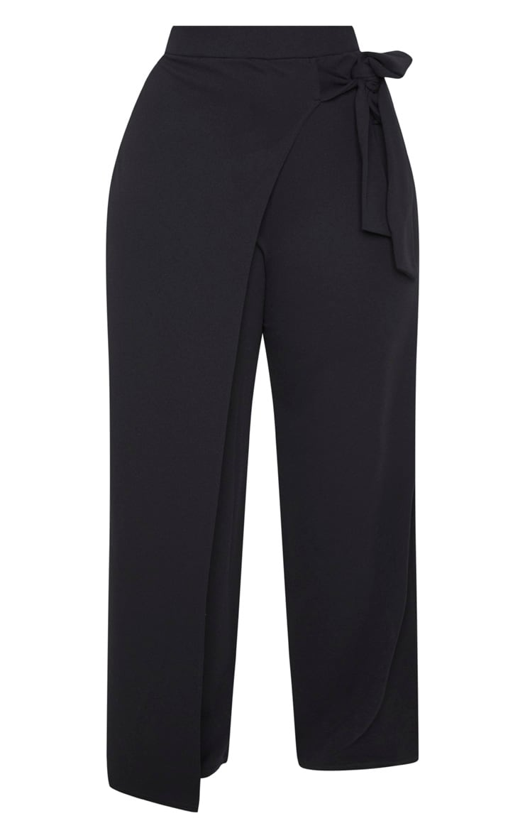 Plus Black Wrap Detail Extreme Wide Leg Pants 3