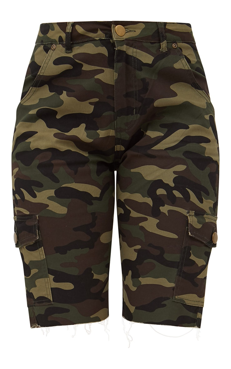 Camouflage Mid Length Denim Shorts 3