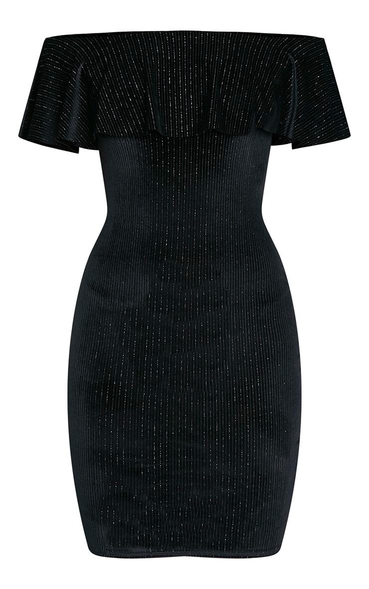 Jardia Black Velvet Frill Bardot Midi Dress 3
