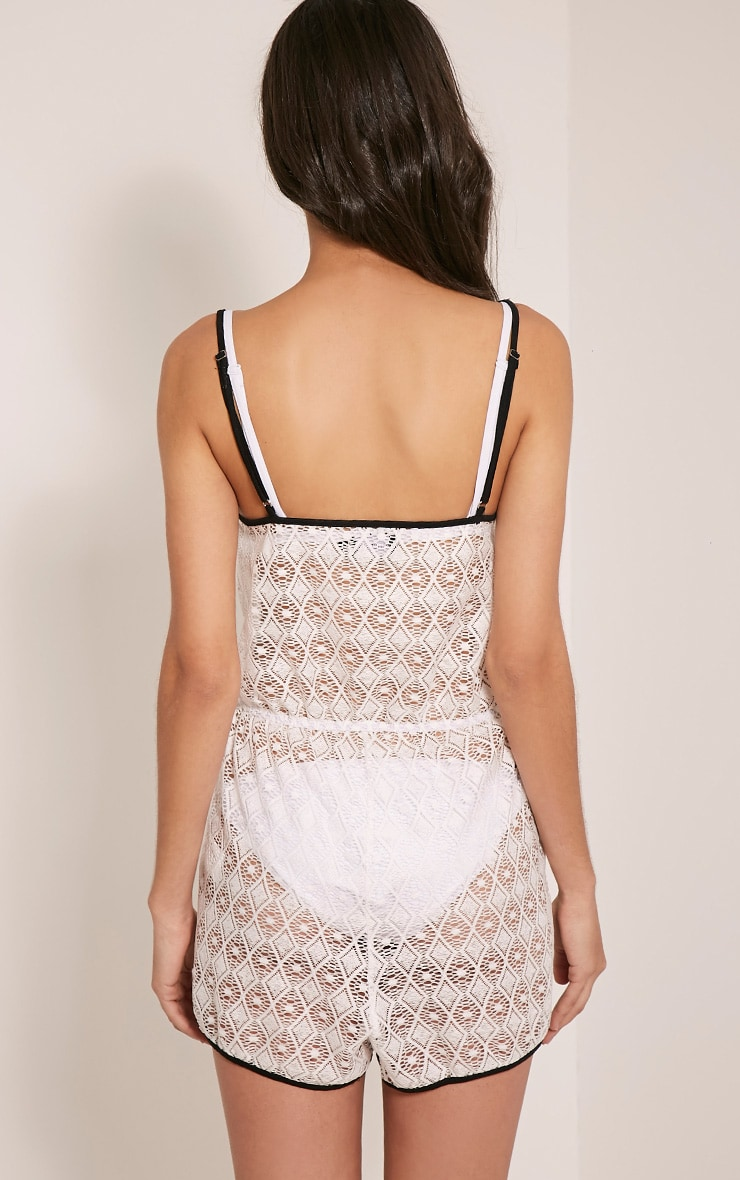 Elaina White Sheer Lace Runner Short Playsuit 2