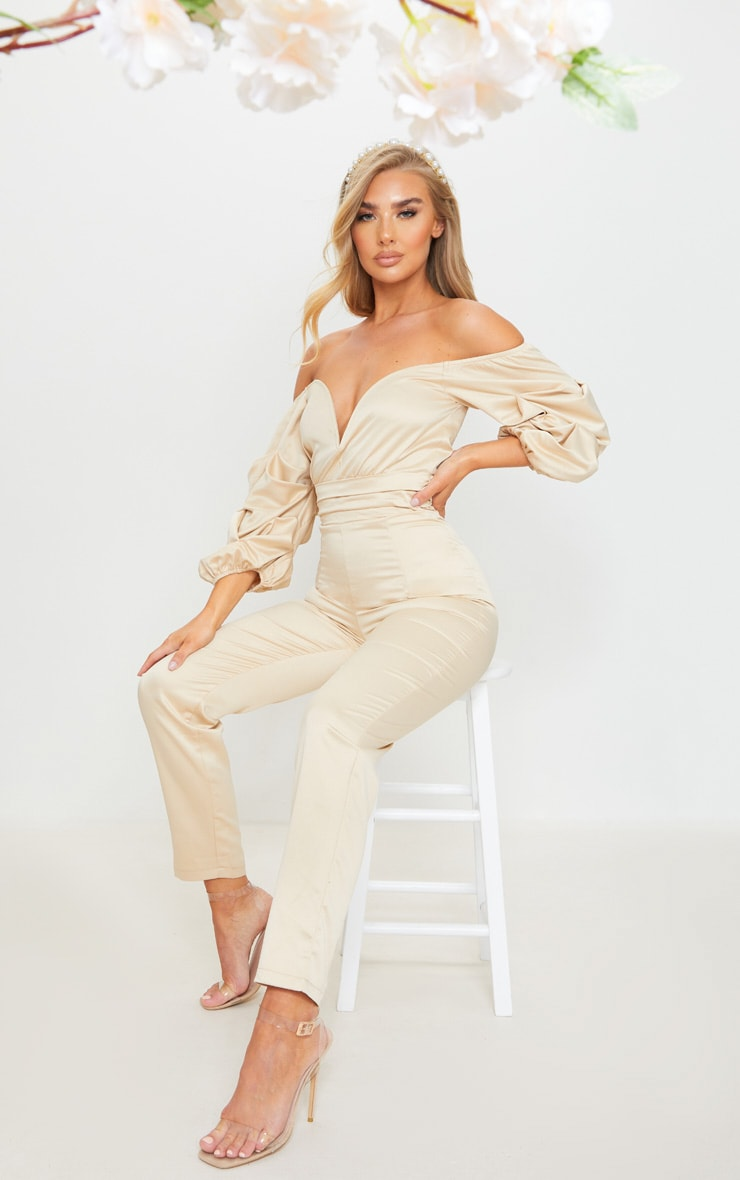Nude V Bar Gathered Sleeve Bardot Jumpsuit 3