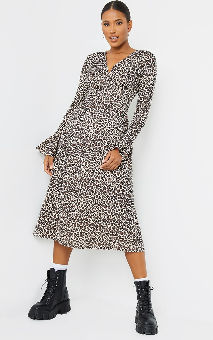 Tan Leopard Print Flare Sleeve Wrap Maxi Dress 3
