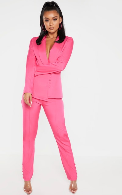 Hot Pink Woven Button Cuff Detail Skinny Trouser