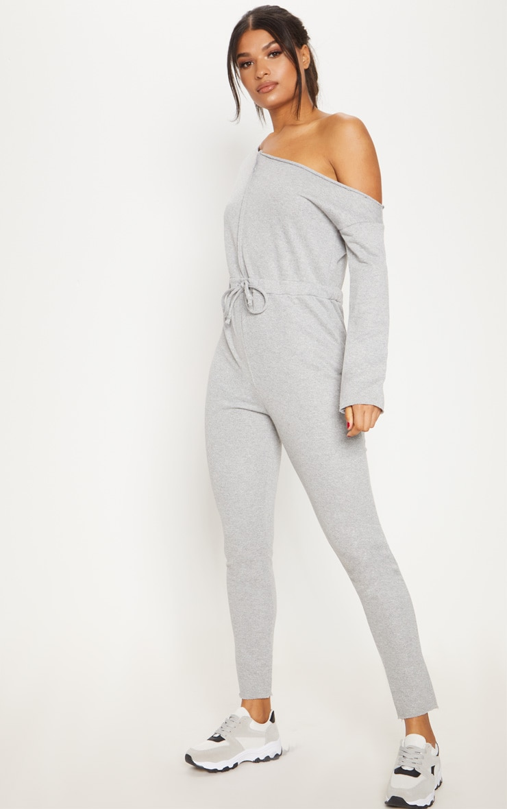 Grey Marl Loop Back Off The Shoulder Jumpsuit 4