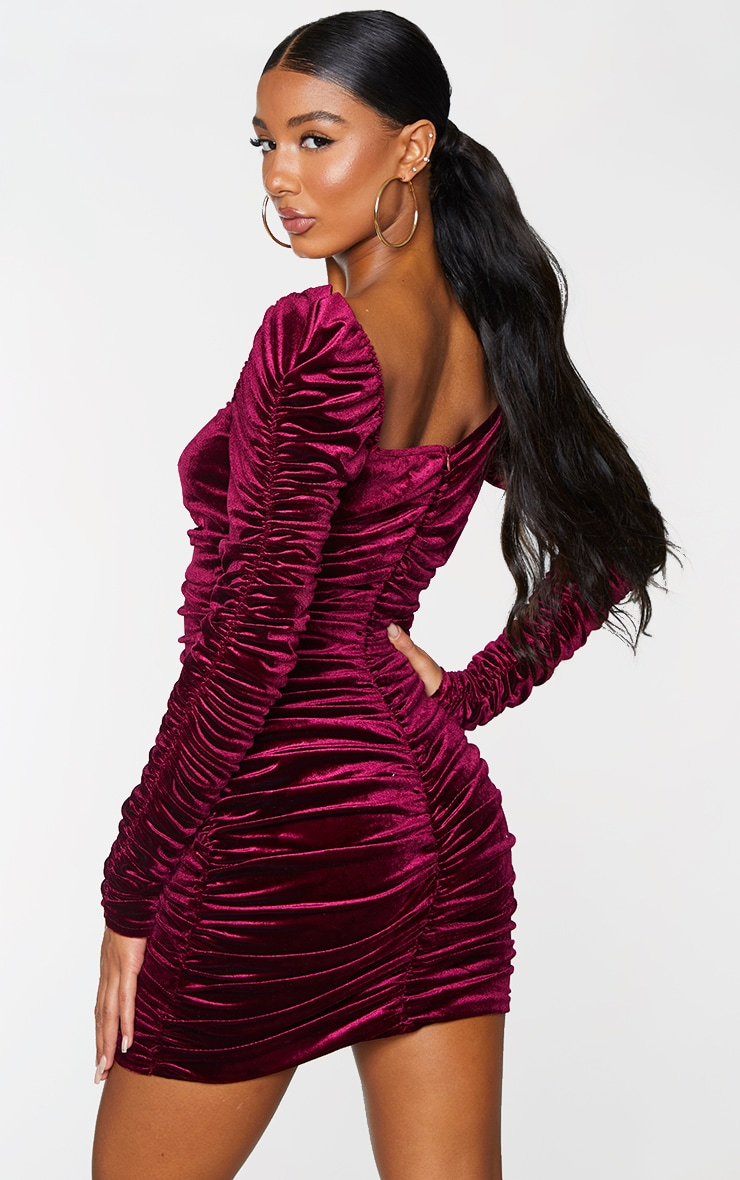 Wine Velvet Long Sleeve Ruched V Neck Bodycon Dress 2