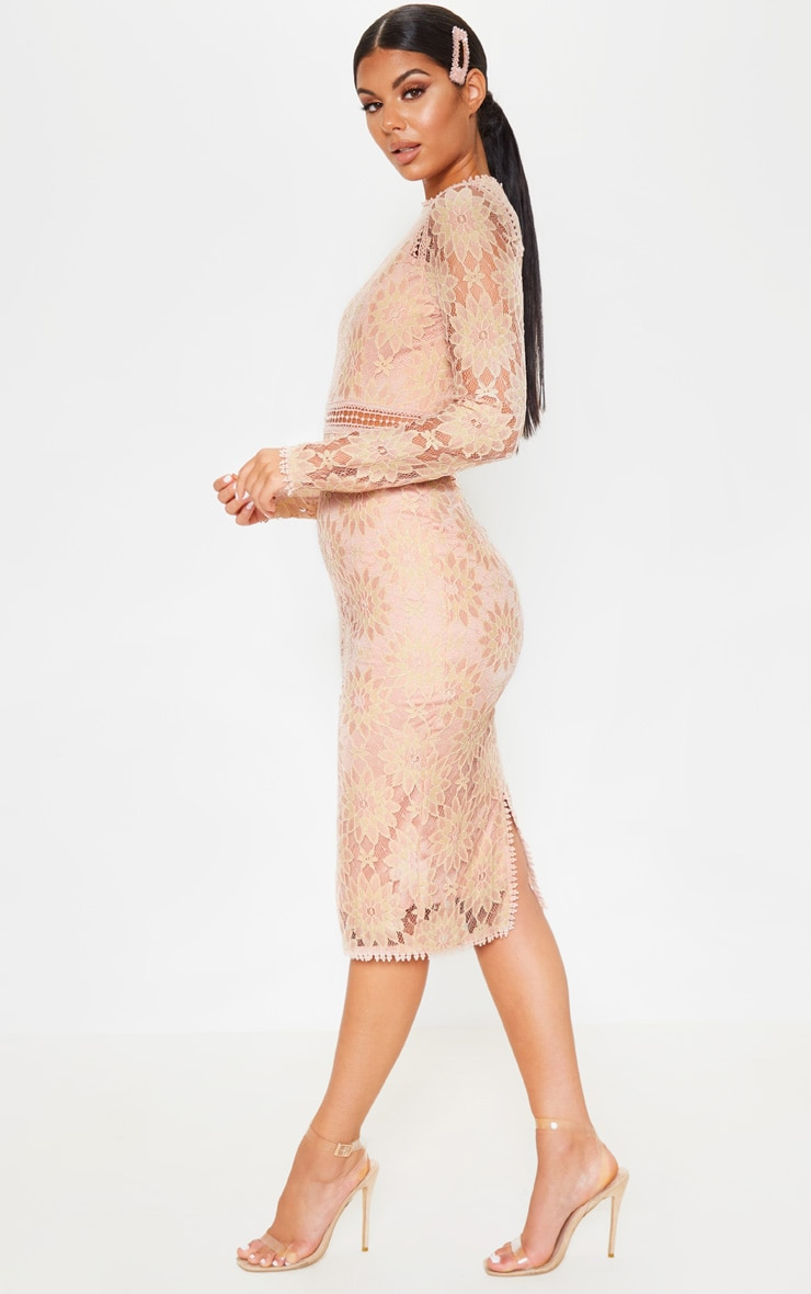 Caris Dusty Pink Long Sleeve Lace Bodycon Dress 1