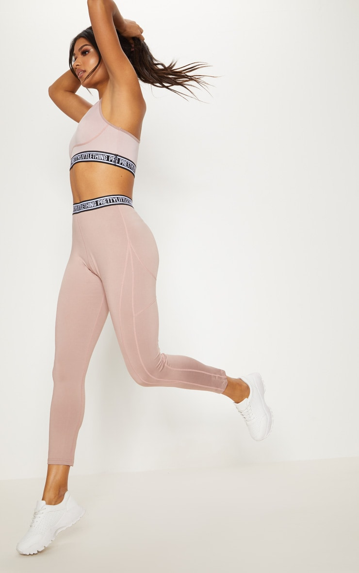 PRETTYLITTLETHING Taupe Contrast Stitch Sports Leggings