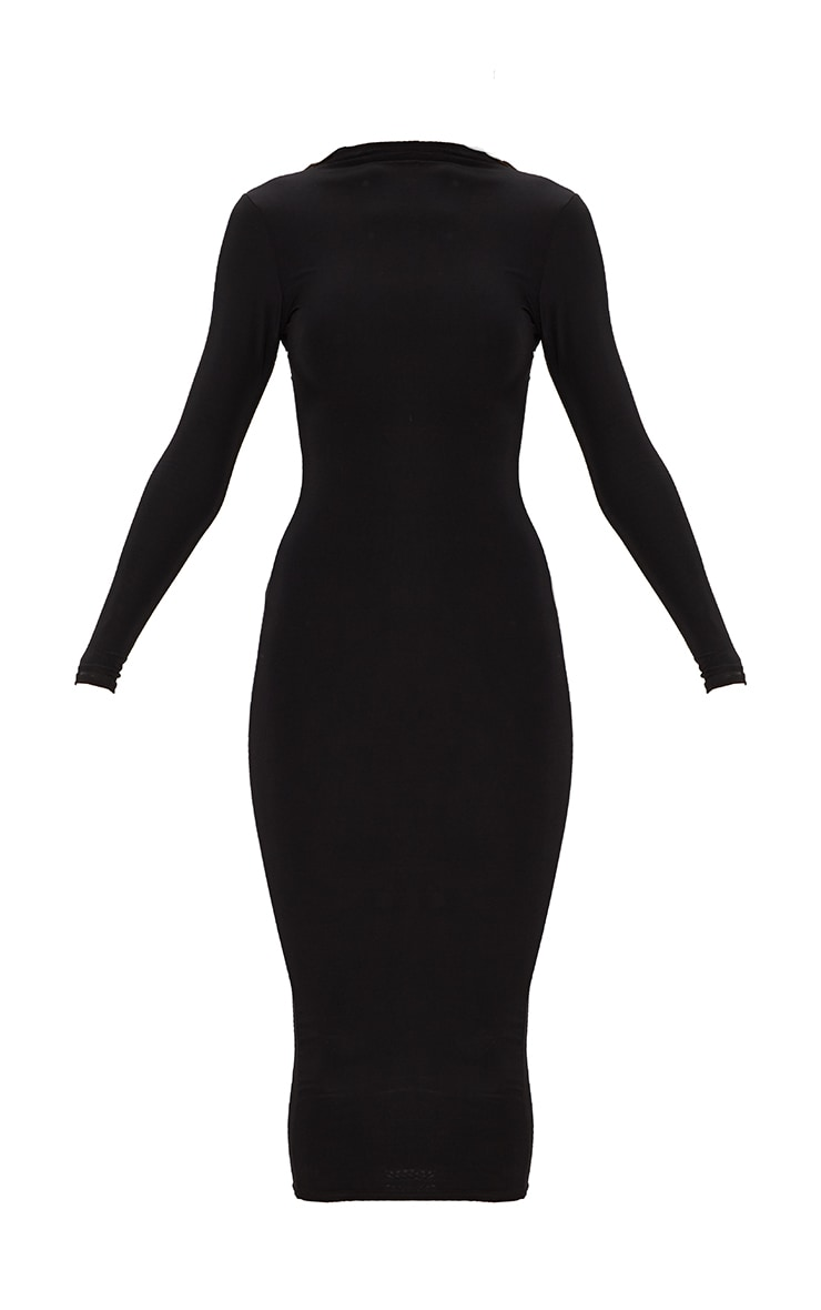 Black Second Skin Double Layered Slinky High Neck Midaxi Dress 3