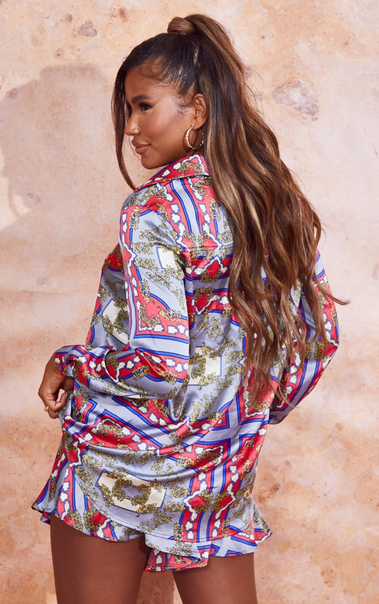 Red Scarf Print Oversized Button Front Shirt 2