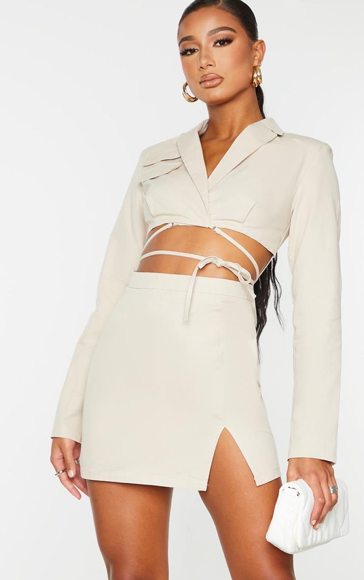 Stone Woven Cut Out Tie Waist Utility Style Blazer Bodycon Dress 3