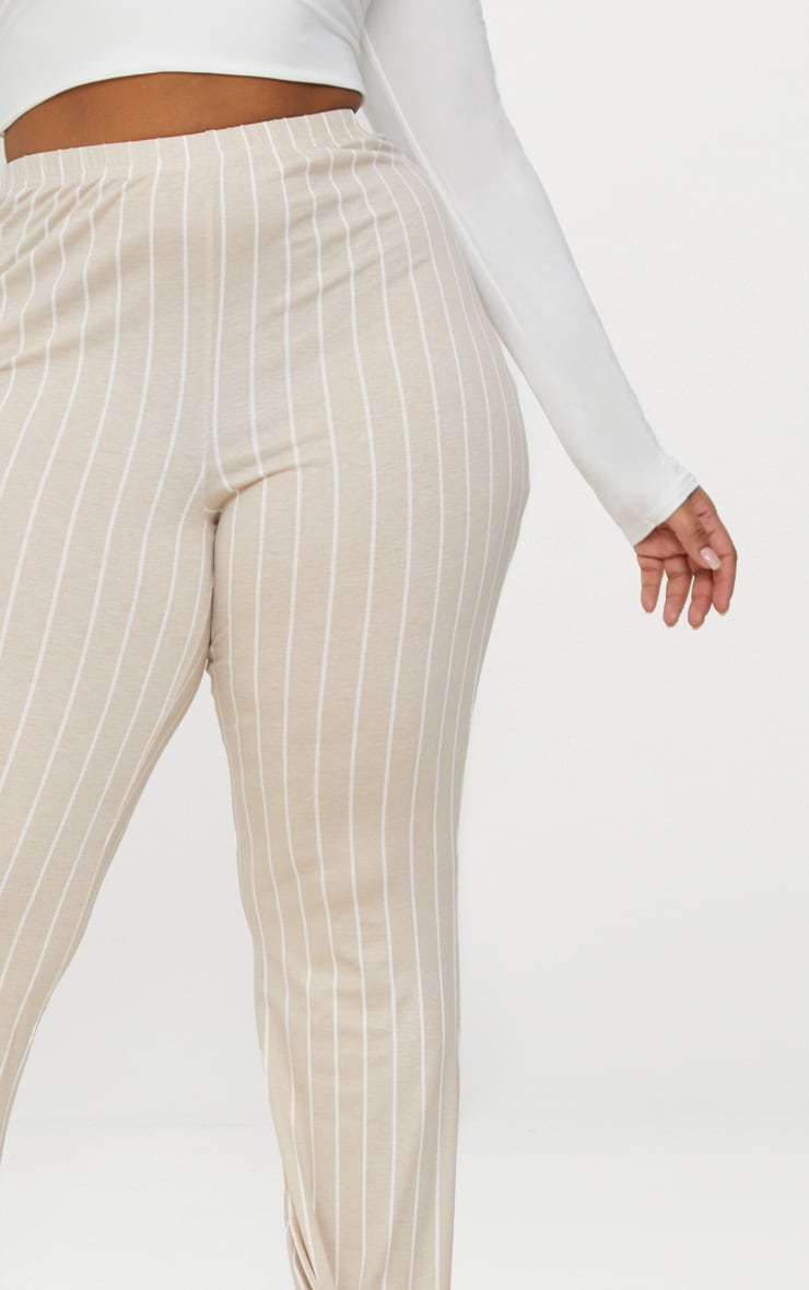 Plus Stone Striped Flared Trousers 5