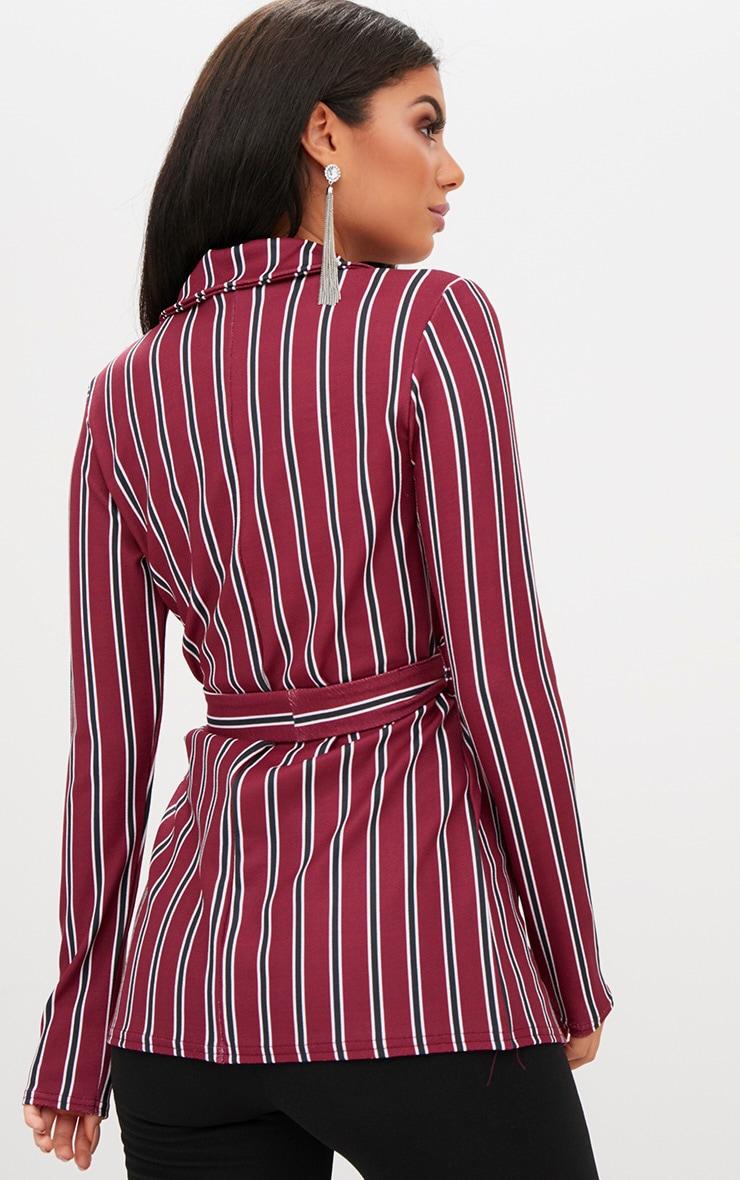 Burgundy Belted Stripe Blazer 2