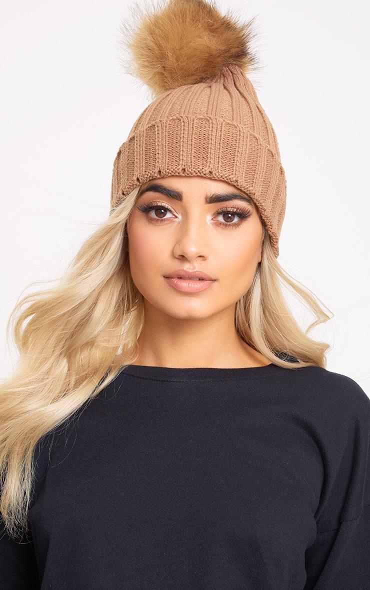 Camel Faux Fur Pom Beanie Hat  1