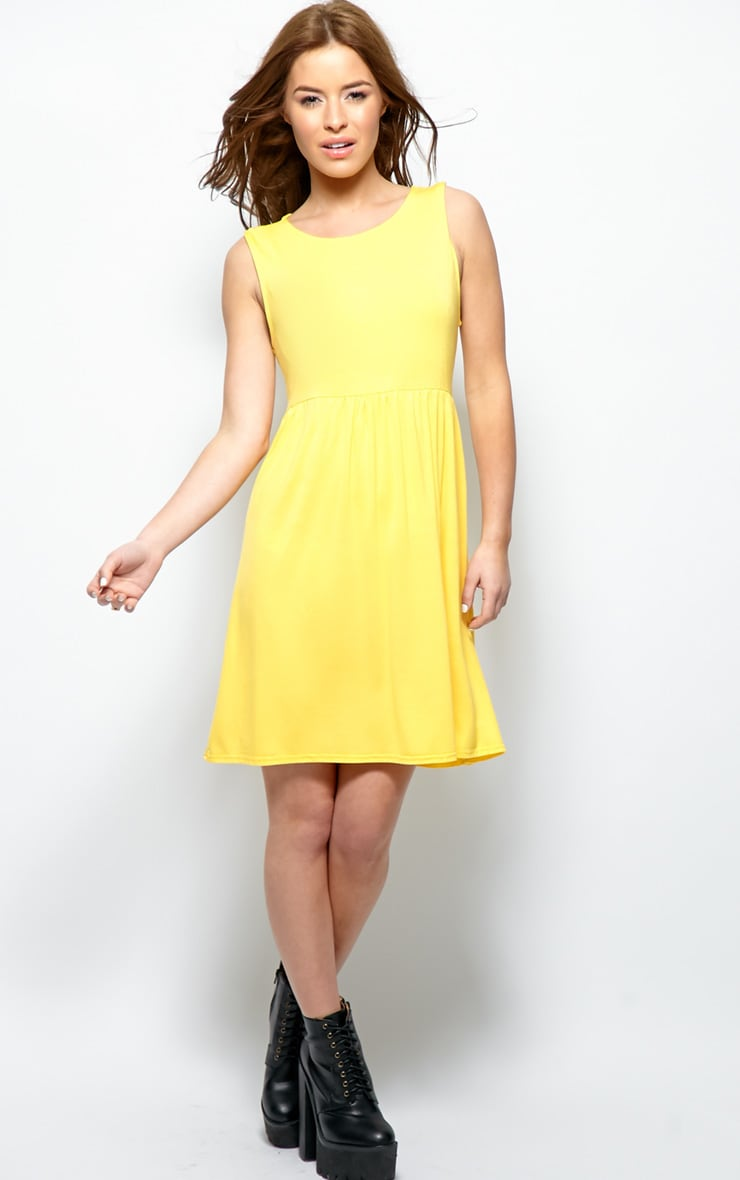 Kirsten Yellow Sleeveless Smock Dress  3