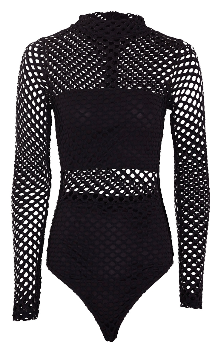 Annika Black Fishnet Panel Long Sleeve Bodysuit 3