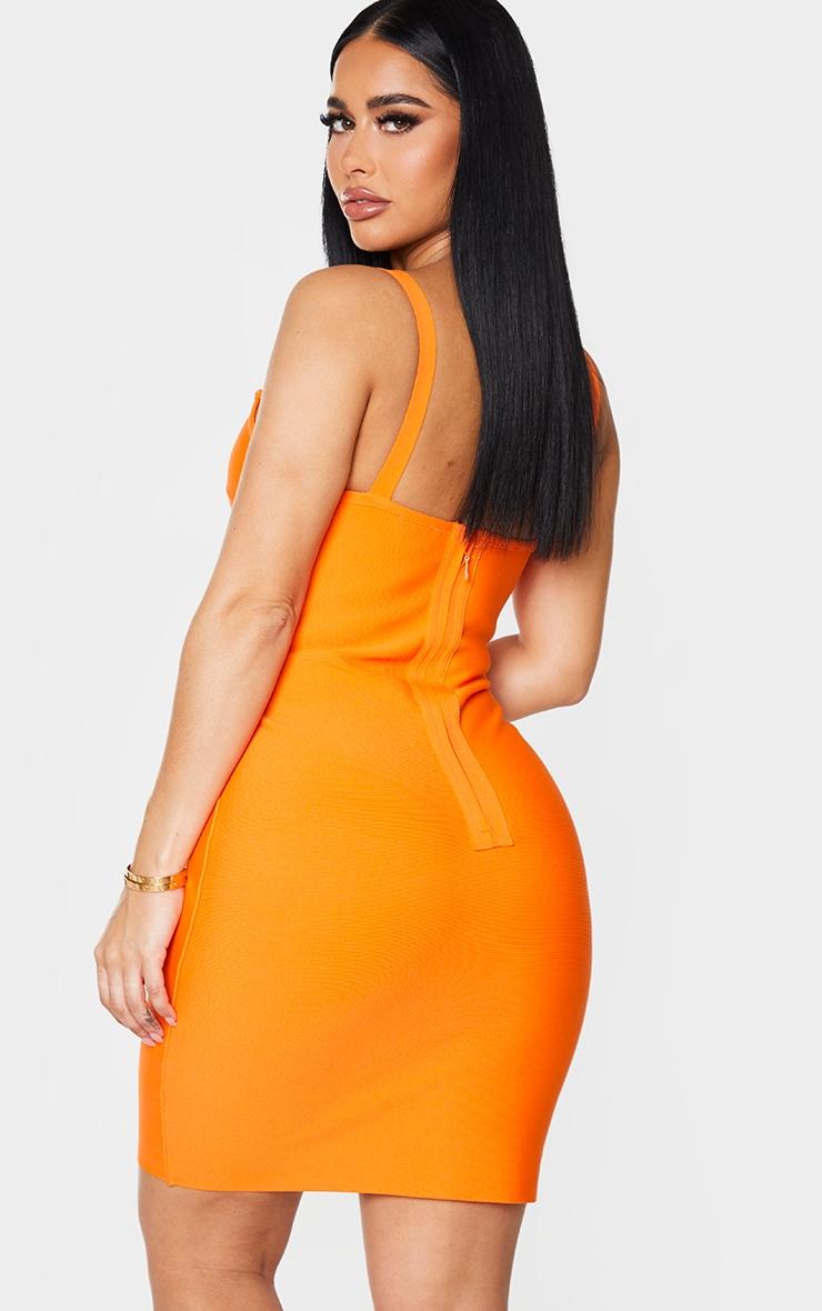 Shape Orange Bandage Strappy Bodycon Dress 2