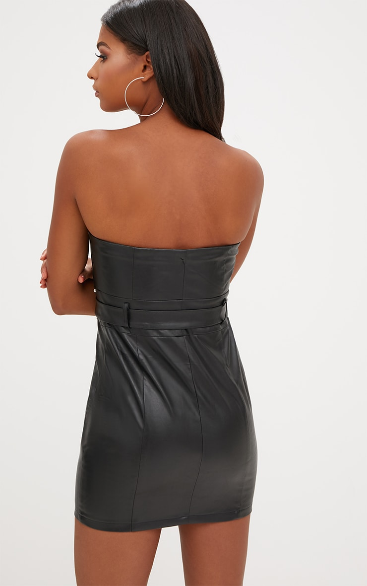 Black PU Stud Detail O Ring Bandeau Bodycon Dress 2