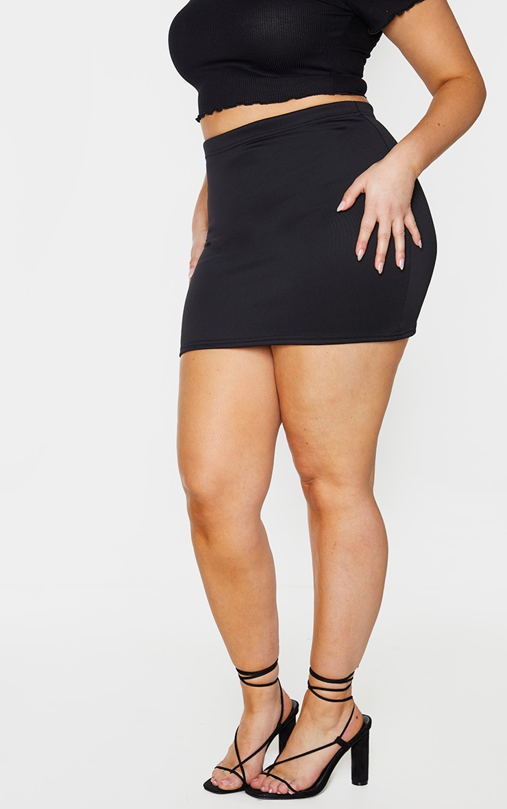 Plus Milah Black Scuba Mini Skirt 2