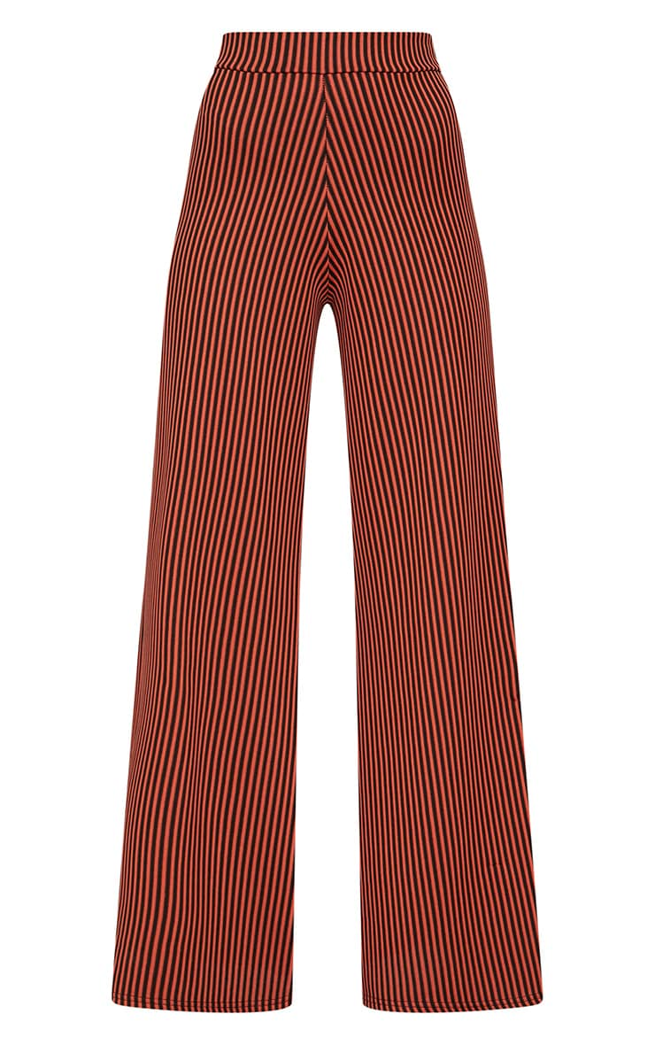 Rust Ribbed Pinstripe Wide Leg Trousers 3