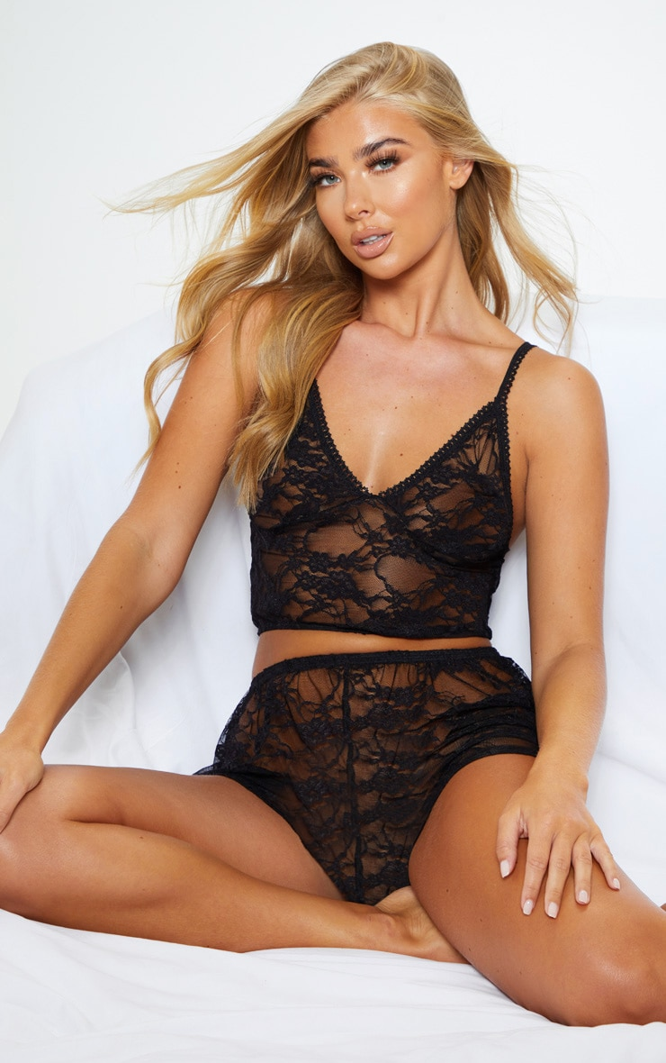 Luma Black All Over Lace Crop Top & Short Set 4