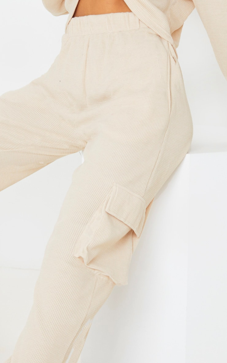 Cream Pocket Detail Waffle Knit Jogger 5