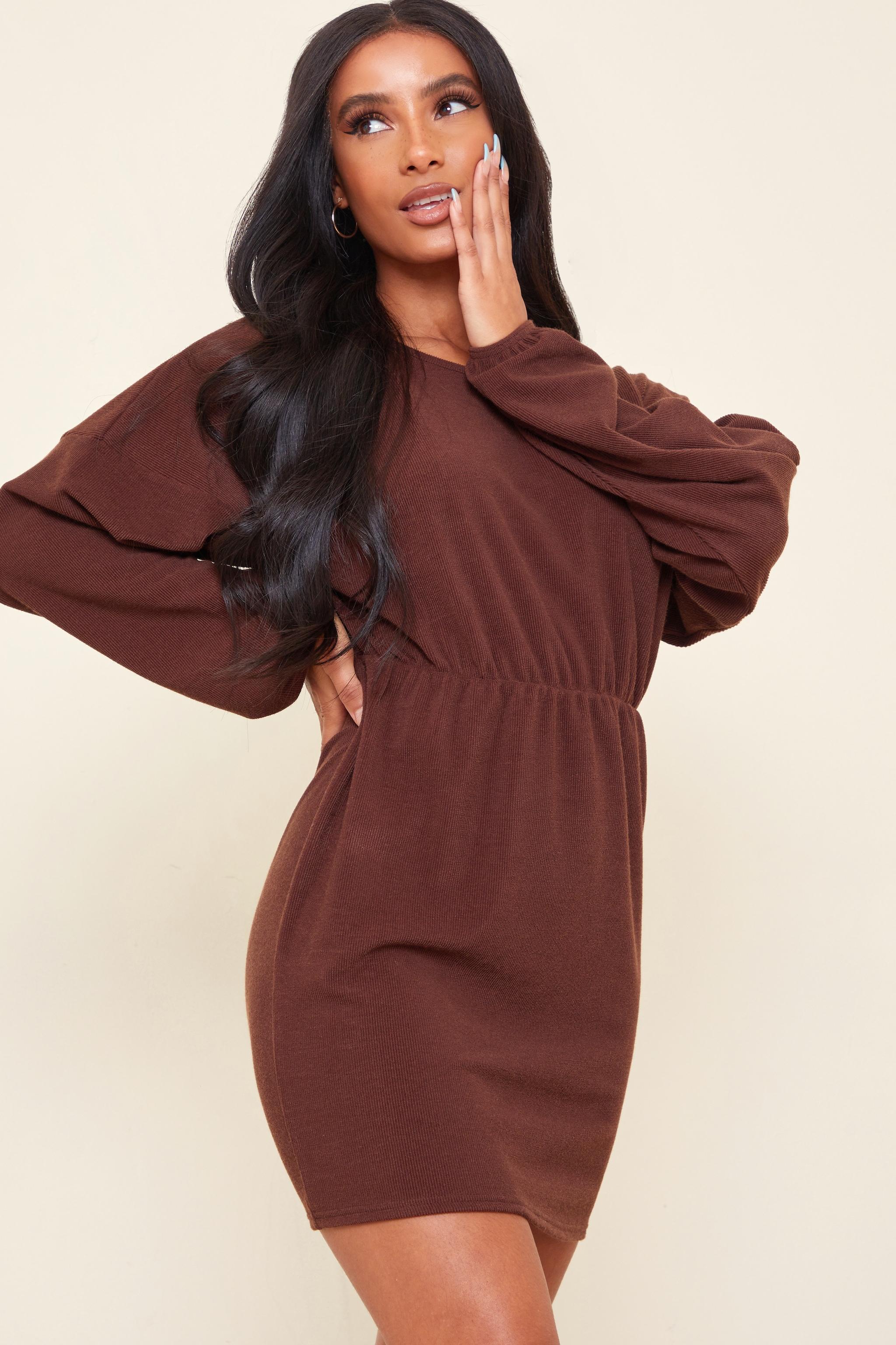 Chocolate Rib Batwing Sleeve Elasticated Waist Shift Dress 1