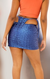Blue Faux Leather Textured Thong Tie Detail Mini Skirt 3
