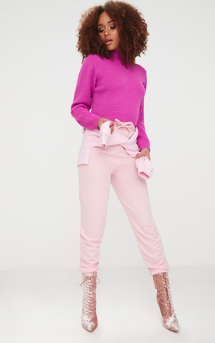 Fuchsia High Neck Soft Knit Cropped Jumper 4