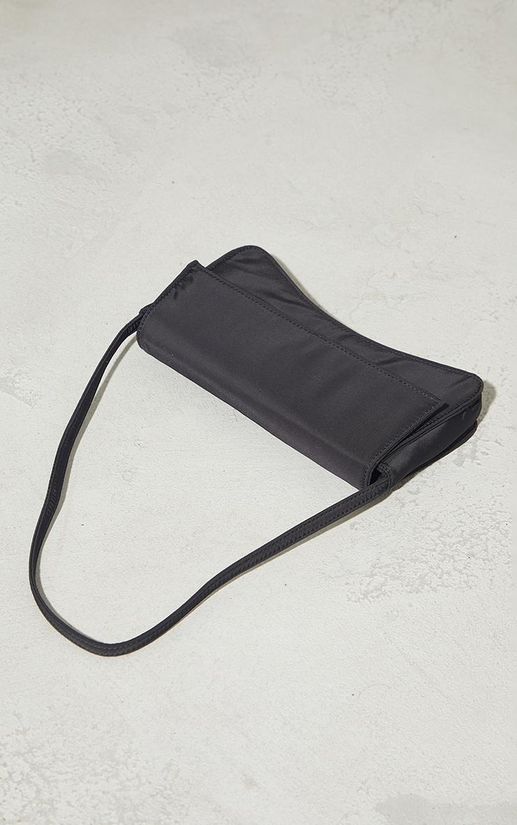 Black Nylon Flap Over Baguette Shoulder Bag 2