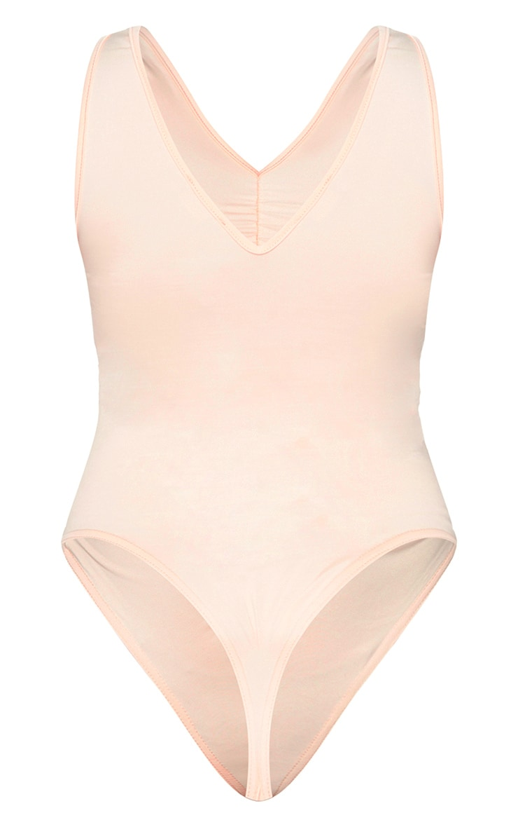 Nude Slinky Ruched Front Plunge Bodysuit 6