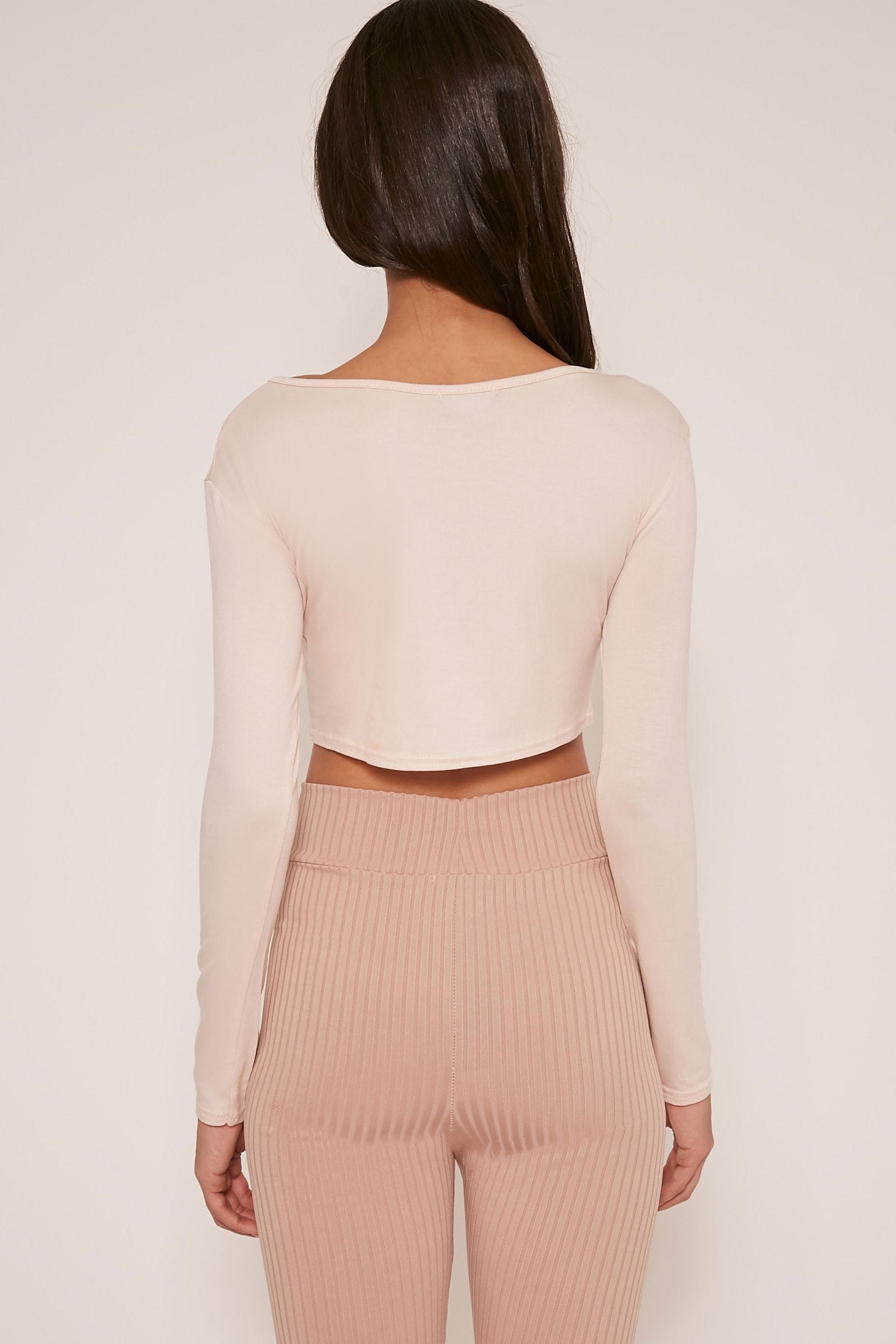 Basic Nude Long Sleeve Crop Top 4