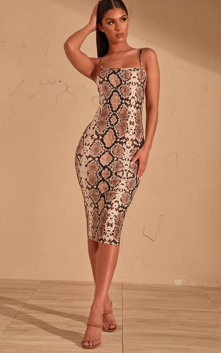 Beige Snake Print Strappy Midi Dress 1