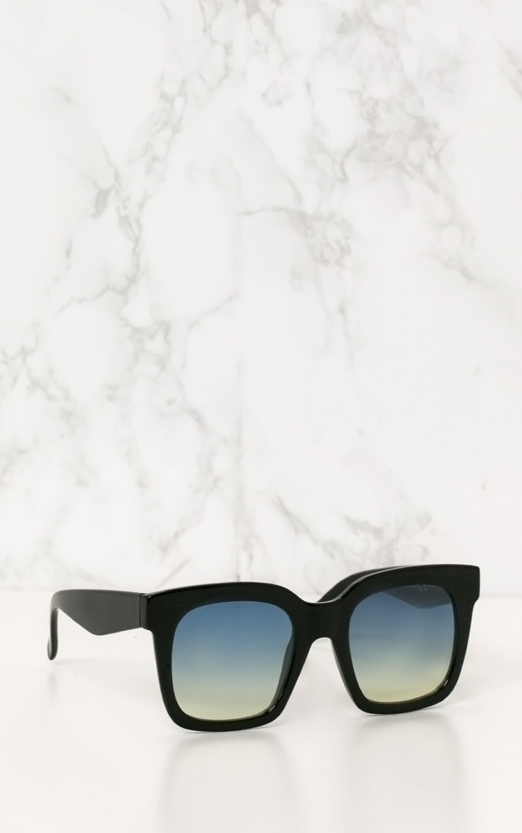 Black Blue Lens Oversized Square Sunglasses 3