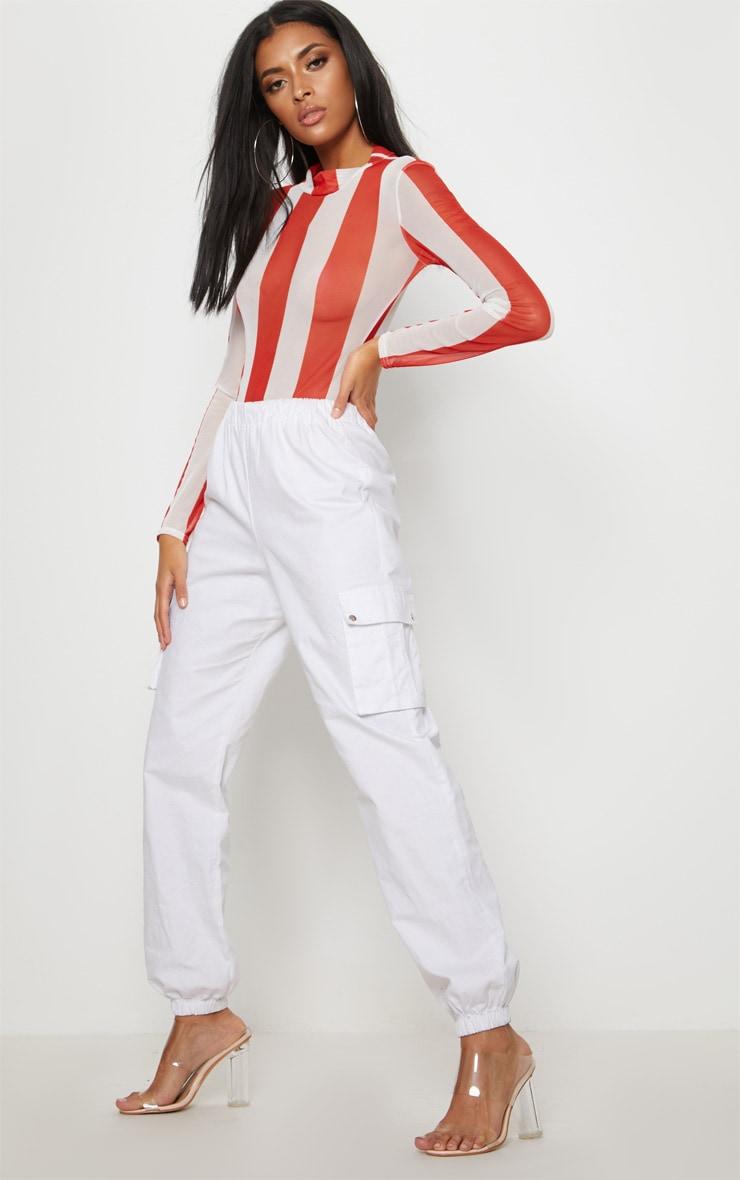 Red Printed Mesh Long Sleeve Bodysuit 5