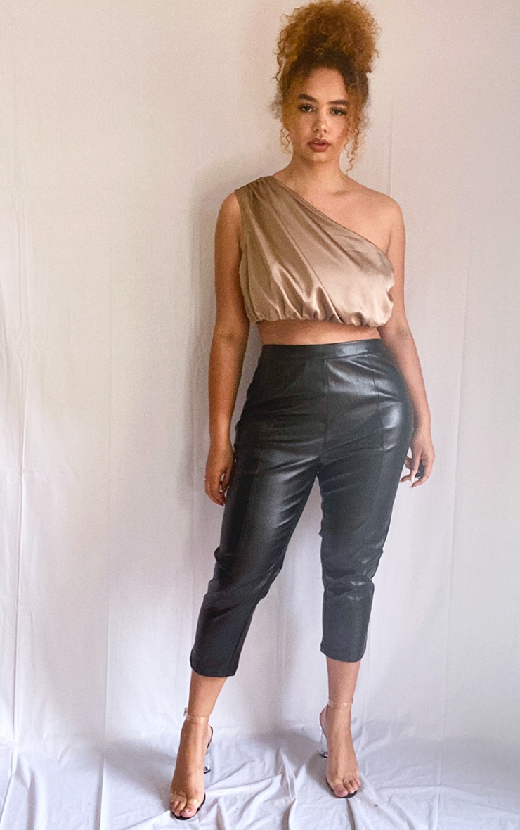 Plus Olive Green Satin Ruched Cropped Top 3