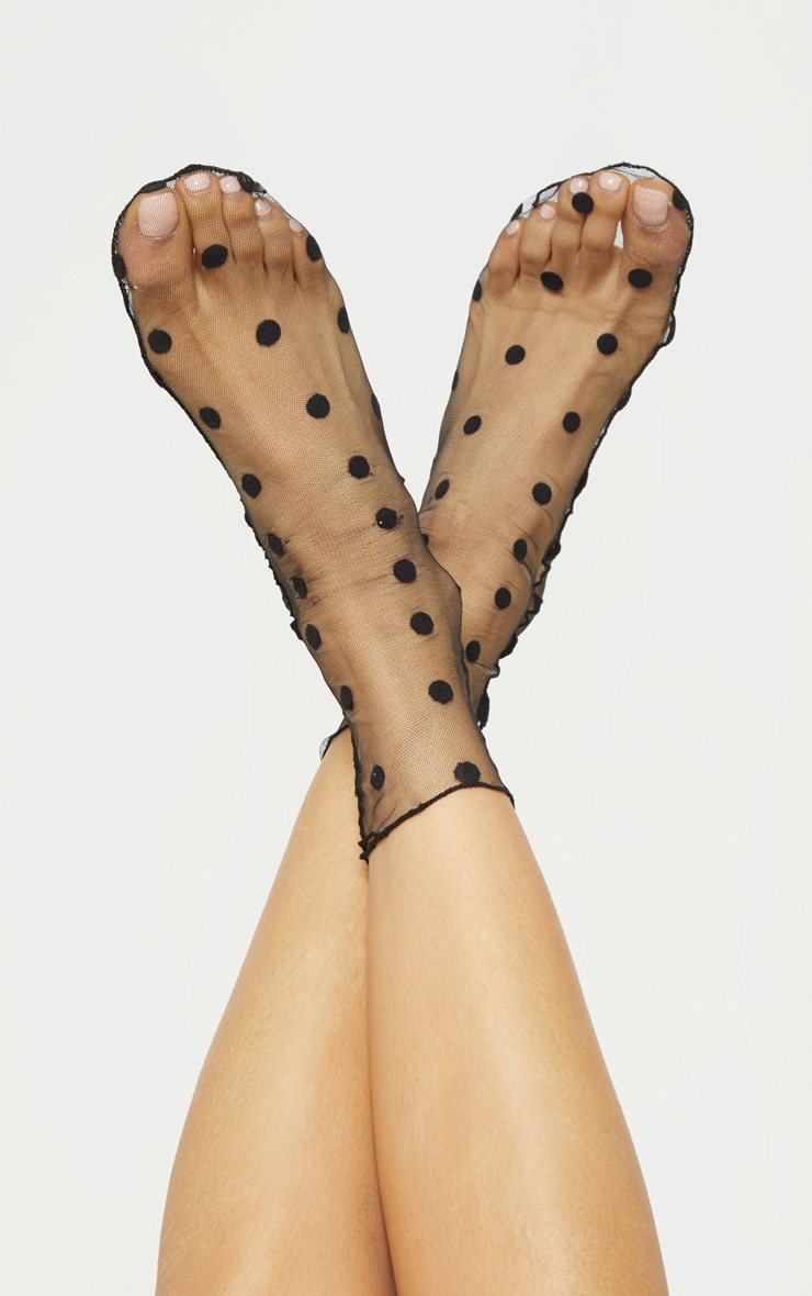 Black Polka Dot Socks  1