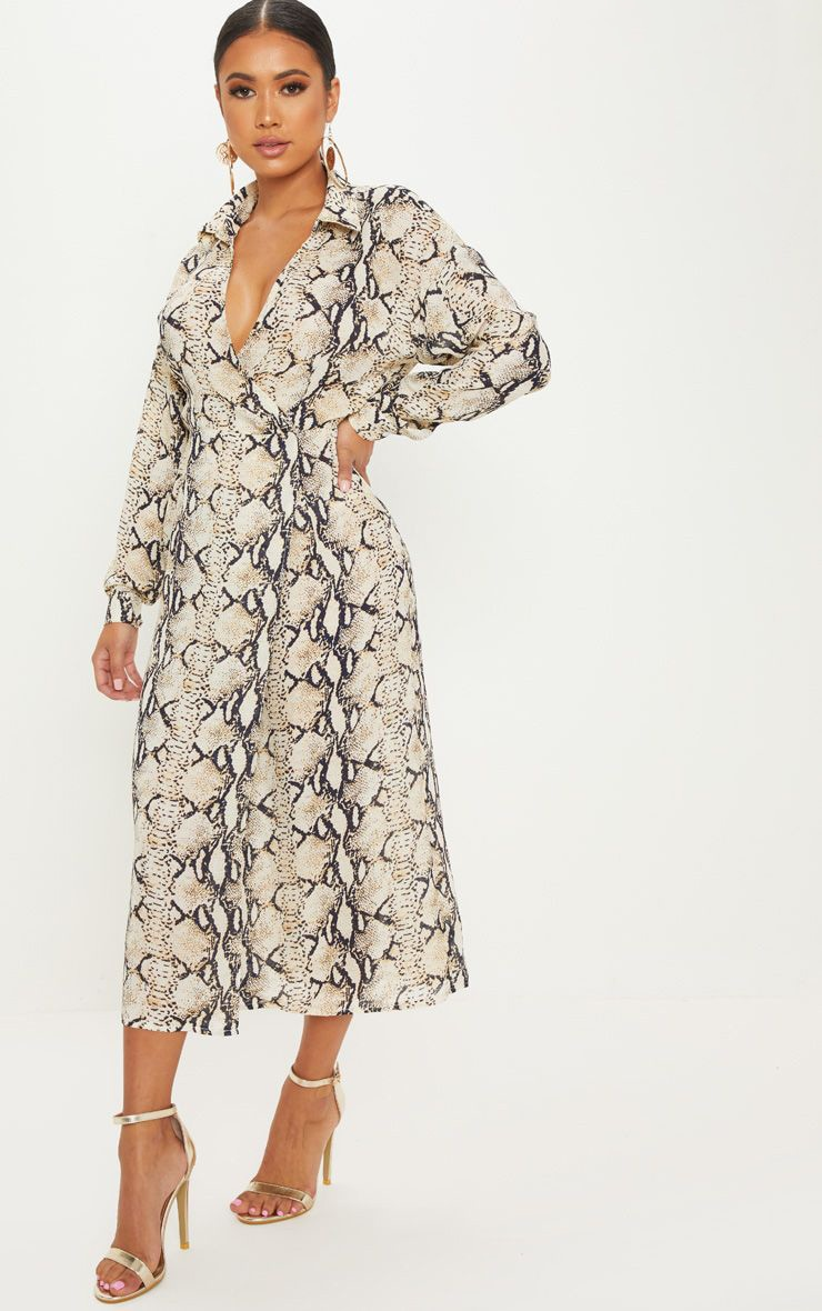 Petite Taupe Snake Print Wrap Midi Dress 1