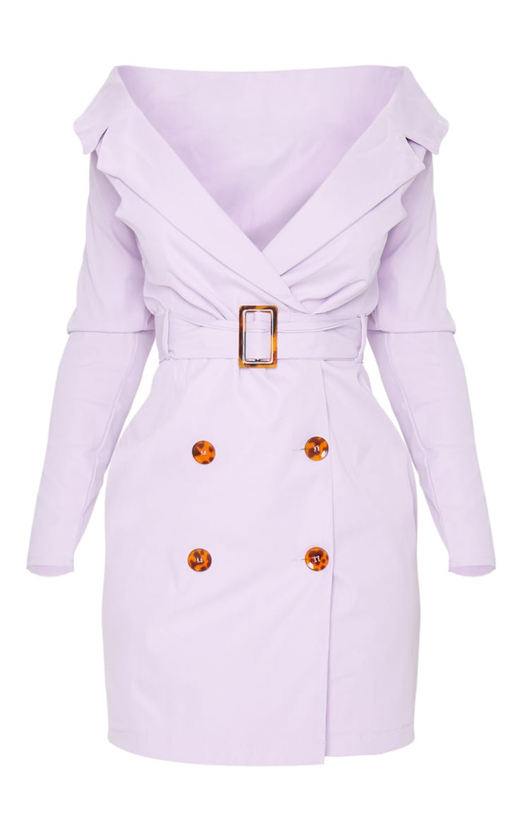 Lilac Bardot Tortoise Button Belted Blazer Dress 6
