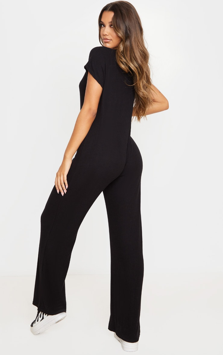Black Brushed Rib Button Short Sleeve Jumpsuit 2