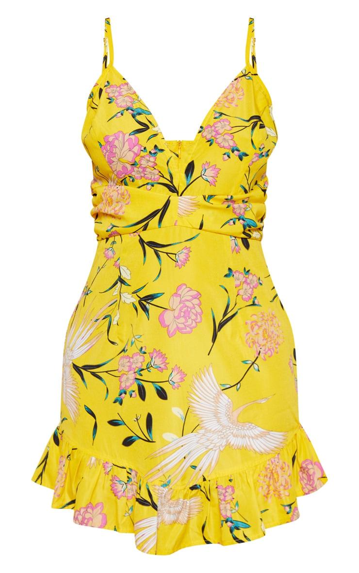 Yellow Floral Print Pleated Waist Frill Hem Bodycon Dress 3