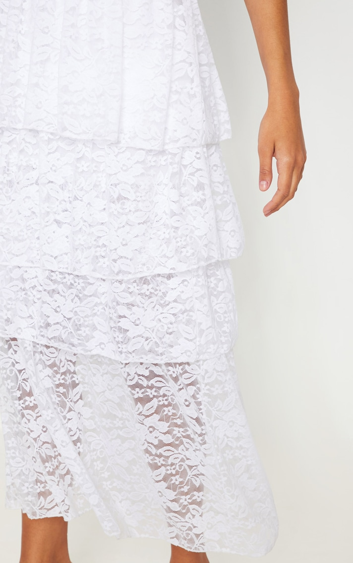 White Lace Tiered Maxi Skirt 5