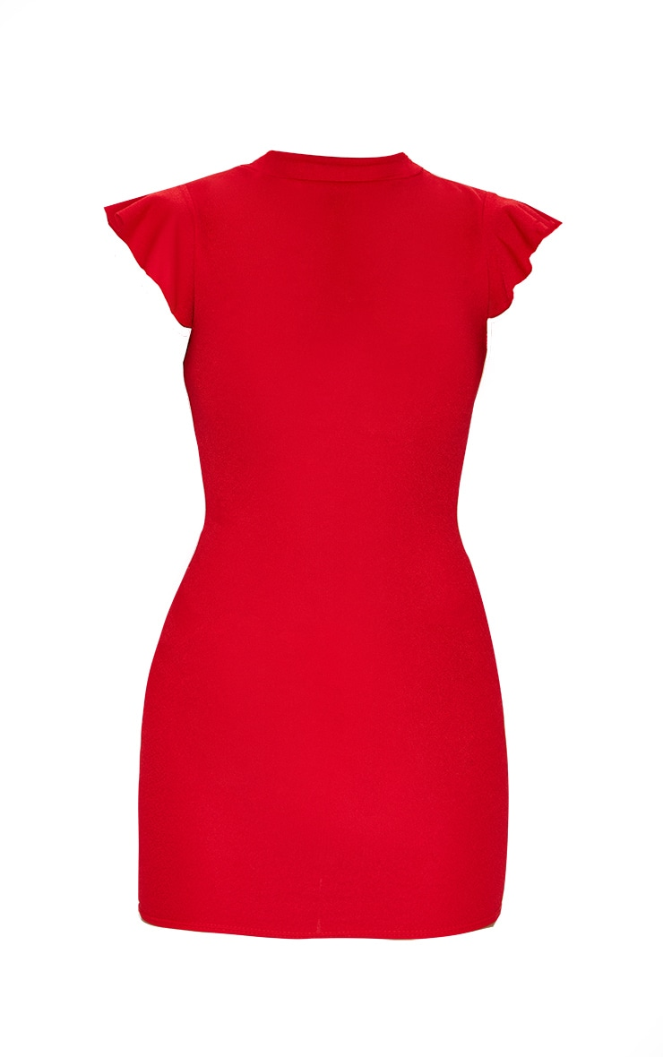 Red High Neck Cap Sleeve Bodycon Dress 5