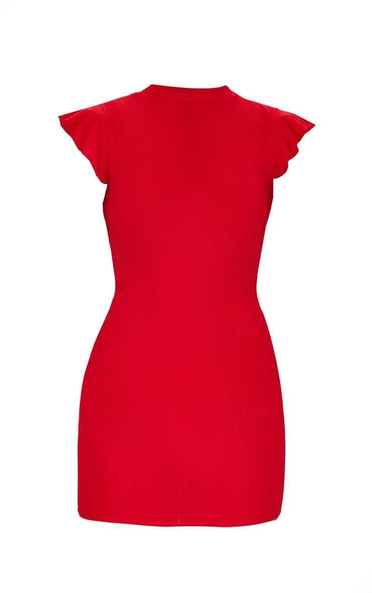 Robe moulante rouge à manches courtes et col haut 6