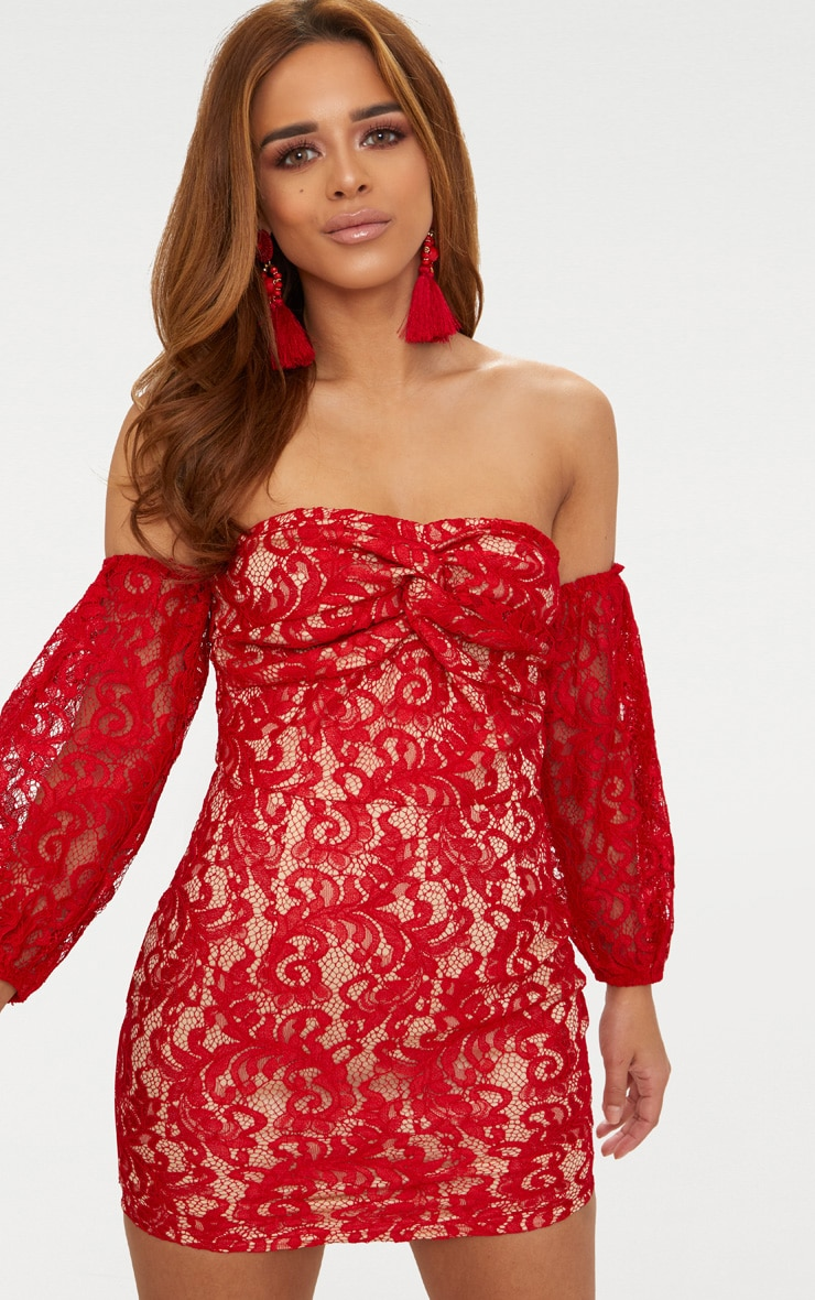 Petite Red Lace Puff Sleeve Bodycon Dress 1