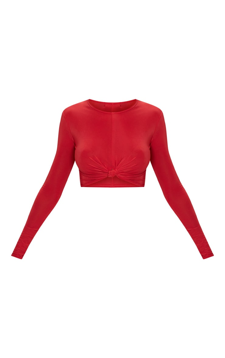 Red Slinky Knot Front Long Sleeve Crop Top 3